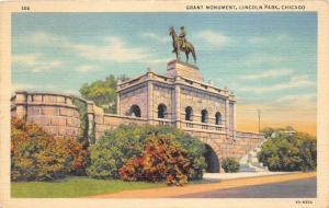 Chicago Illinois~Lincoln Park~Grant Monument~L T Rebisso Work~1941 Linen Pc
