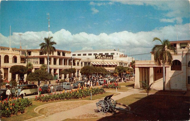 Kingston Jamaica~King Street~Nathans~Issas~40s & 50s Cars~VW Van~Cannon~Postcard