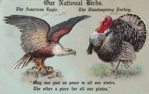 THANKSGIVING, PU-1907; Our National Birds, American Eagle & Wild Turkey