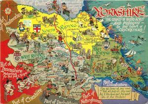 United Kingdom Yorkshire humour map postcard