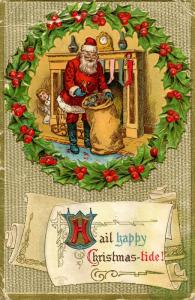 Greetings - Christmas, Santa Claus (red suit). Card has considerable wear