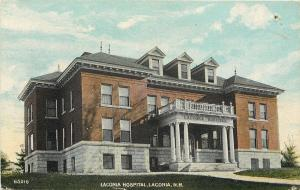 Laconia  New Hampshire~Hospital Portico and Three Dormers c1910