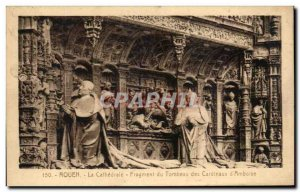 Old Postcard Rouen Cathedral Fragment of Tomb of Cardlnaux of Amboise