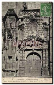 Harfleur Old Postcard Grand gate of & # 39eglise