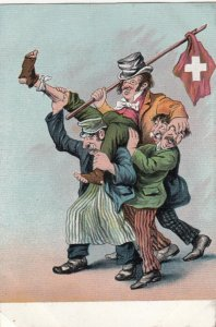 Three Men Carrying Flag , Switzerland, 1900-10s