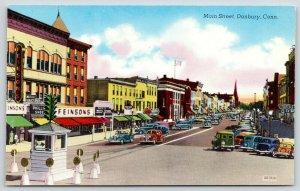 Danbury Connecticut~Main Street~Feinson's Clothing Store~Traffic Cop in Box~1940