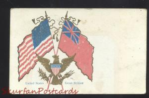 UNITED STATED & GREAT BRITAIN FLAG WWI ALLIES ANTIQUE VINTAGE POSTCARD