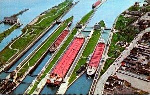 Michigan Sault Ste Mari Aerial View The Soo Locks