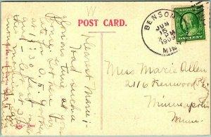 1909 BENSON, Minnesota Postcard Dam & Woolen Mill Chippewa River HAND-COLORED
