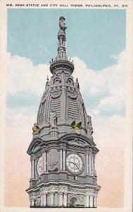 Pennsylvania Philadelphia William Penn Stataue and City Hall Tower