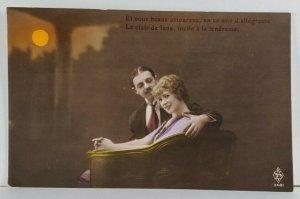 Rppc Beautiful Edwardian Couple Under Orange Moon Le Clair de lune Postcard Q6