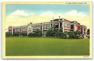 Postcard DE Laurel High School Vintage Linen