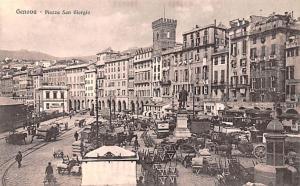 Italy Old Vintage Antique Post Card Piazza San Giorgio Genova Unused