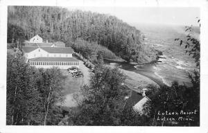 Lutsen Minnesota~Birdseye Lutsen Resort~1920-30s Cars~1940s Real Photo~RPPC