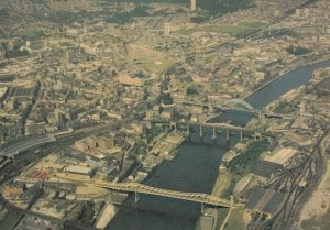 Newcastle Upon Tyne Metro Swing Bridges 1980s Aerial Postcard