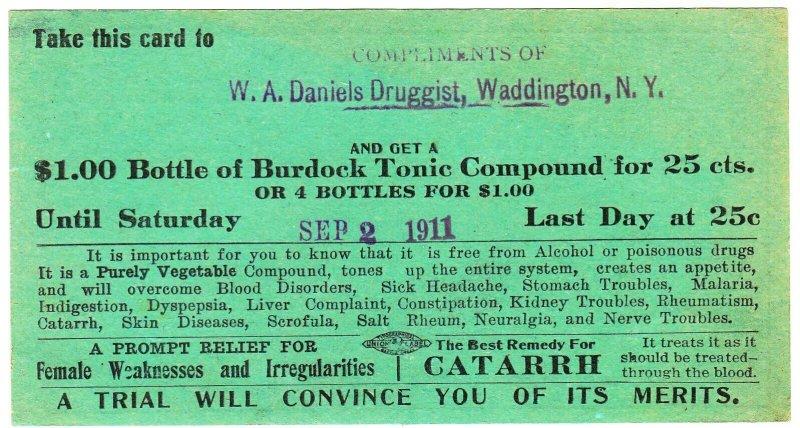 Brooks Drug Company Burdock Tonic Compound coupon - 1911