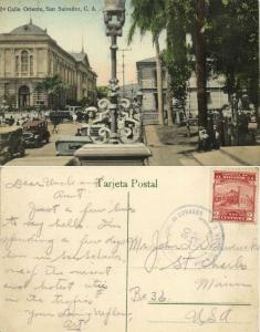 el salvador, SAN SALVADOR, 2a Calle Oriente, Car Truck Park (1930) Stamp