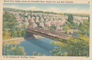 Stoudt Ferry Covered B ridge over Schuylkill River Reading PA Pennsylvania Linen