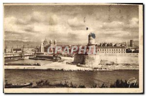 Old postcard Marseille B R Fort St. John and the Cathedral of the Major seen ...
