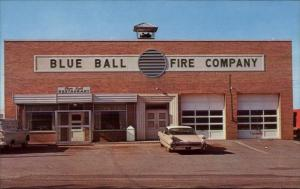 Blue Ball Fire Company Hall Restaurant Old Car Fire Station Postcard