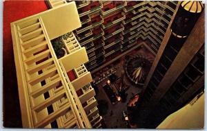 Atlanta, Georgia Postcard REGENCY HYATT HOUSE Hotel Atrium Lobby View 1967