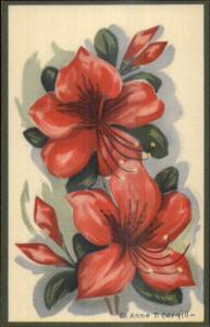 Anne T. Cargill Colorful Flowers NICE LINEN Postcard #1 EXC COND