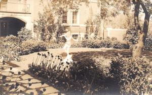 Ann Arbor MI Courtyard Fountain Statue!Courtyard of Women's League~RPPC c1937