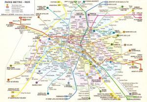 France Paris Metro - RER Map Postcard, Underground Railway Transport 27D