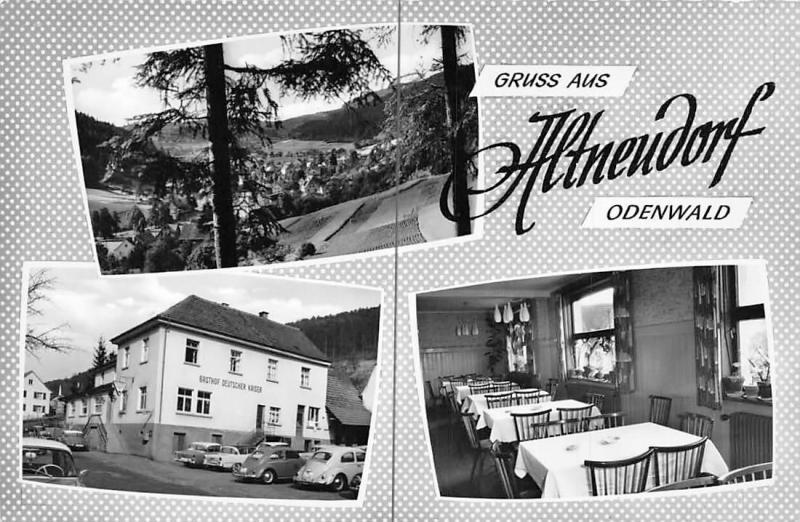 Gruss aus Altneudorf Odenwald, Gasthof Deutscher Kaiser Auto Cars Pension