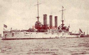 pre-1907 U. S. BATTLESHIP MAINE - PROVINCETOWN