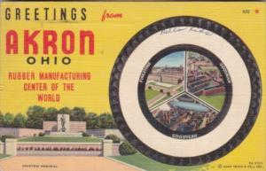 Greetings From Akron Ohio Rubber Manufacturing Center Of The World 1942 Curteich