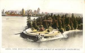 Hand-Colored RPPC; Air View Brockton Point Lighthouse & Waterfront Vancouver BC