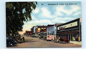 Athens GA Washington Street Big Star Food Store Cars Vintage Linen Postcard C16