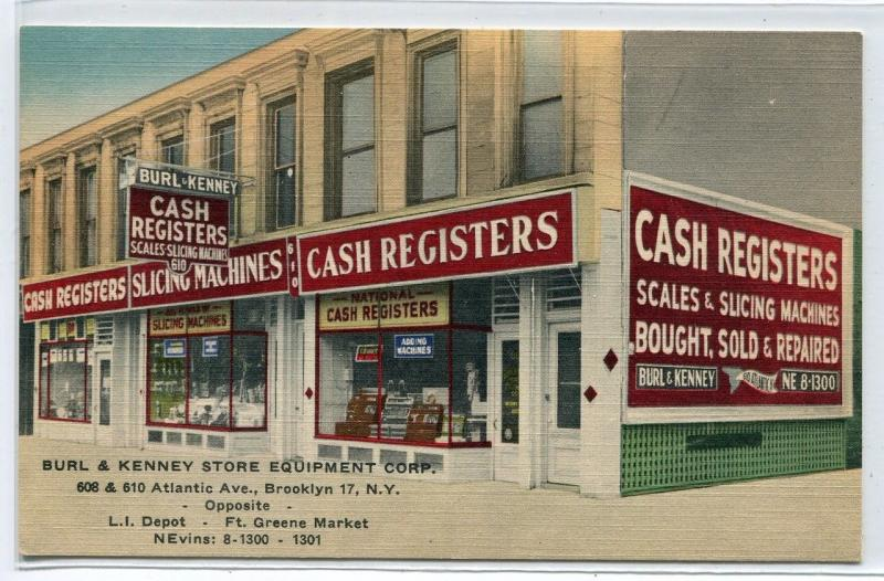 Burl Kenney Cash Register Store Brooklyn New York advertising linen postcard