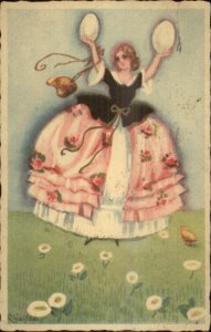 Chiostri Easter Beautiful Woman Holds Eggs #200 c1920s Postcard