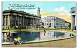 Mid-1900s Public Library and Civic Center, Denver, CO Postcard
