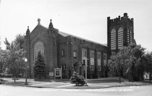 Watertown South Dakota~Stout Belltower~Stone Brick Methodist Church~RPPC c1950