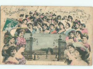1910 Filles & Town Scene NANCY - GRAND EST FRANCE AC2270
