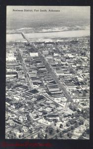FORT SMITH ARKANSAS DOWNTOWN AERIAL VIEW VINTAGE B&W POSTCARD