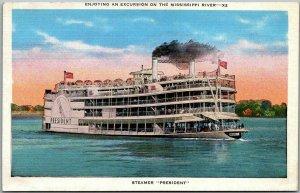 1940s Mississippi River Paddlewheel Riverboat Postcard STEAMER PRESIDENT - Linen