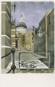 Demolished Smiths Wharf Warehouse St Pauls London Painting Postcard