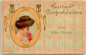 SUBLET, Wyoming Greetings Postcard Heartiest Congratulations 1911 Cancel