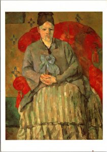 Madame Cezanne in a Red Armchair Painting Postcard unused 1996