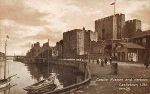 Isle of Man Castle Rushen and Harbour Castletown Postcard