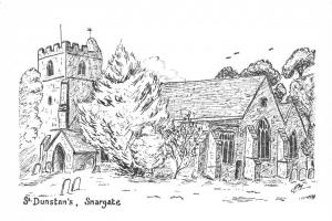 Postcard Art Sketch Drawing SNARGATE New Romney Kent St. Dunstan's Church