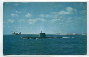 USS Nautilus US Navy Submarine Helicopter postcard