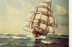 Tall Ship Under Full Set of Sails (Painting by Ellery F. Thompson