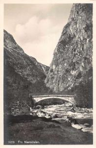 Naerodalen Norway Bridge Over River Scenic View Real Photo Postcard J74539