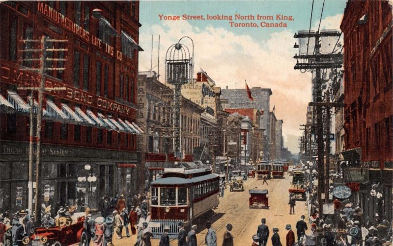 TORONTO ONTARIO CANADA TROLLEY ON YONGE ST LOOKING NORTH FROM KING POSTCARD 1910