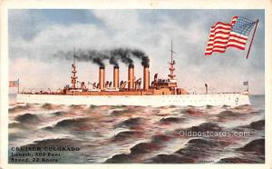 Military Battleship Postcard, Old Vintage Antique Military Ship Post Card Cru...